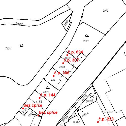 Katastrální mapa Stavební objekt Luhačovice 307, Luhačovice