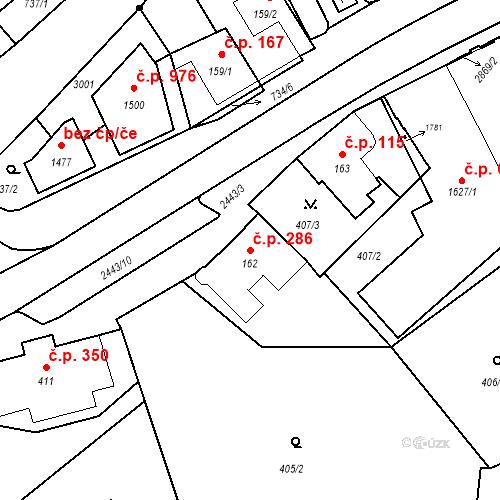 Katastrální mapa Stavební objekt Luhačovice 286, Luhačovice