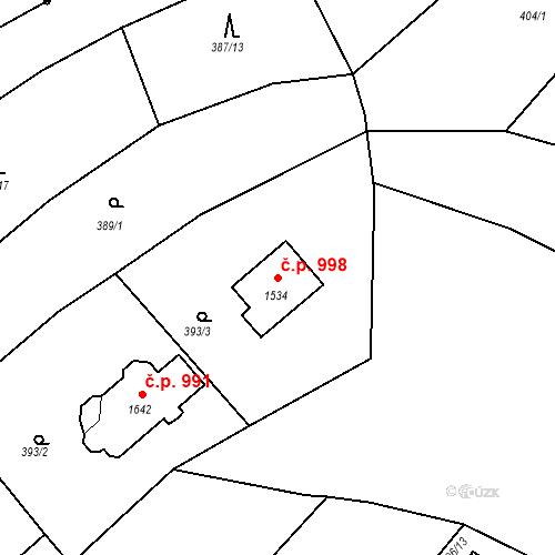 Katastrální mapa Stavební objekt Luhačovice 998, Luhačovice