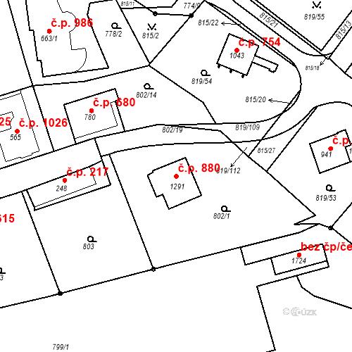 Katastrální mapa Stavební objekt Luhačovice 880, Luhačovice
