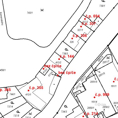Katastrální mapa Stavební objekt Luhačovice 144, Luhačovice
