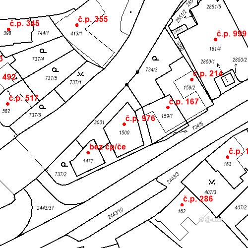 Katastrální mapa Stavební objekt Luhačovice 976, Luhačovice