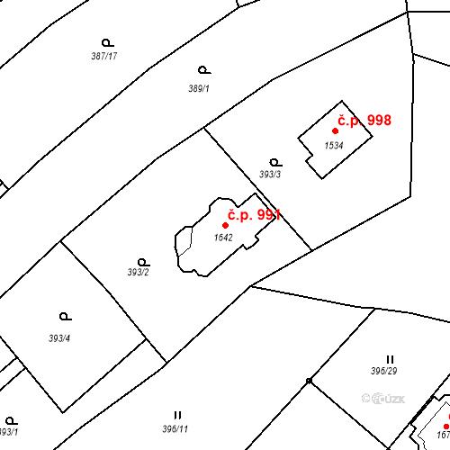 Katastrální mapa Stavební objekt Luhačovice 991, Luhačovice