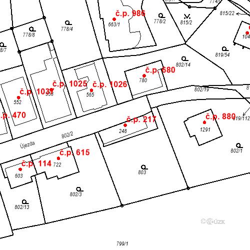 Katastrální mapa Stavební objekt Luhačovice 217, Luhačovice