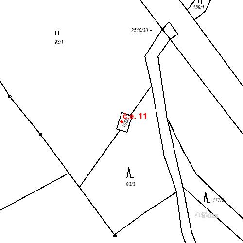Katastrální mapa Stavební objekt Luhačovice 11, Luhačovice