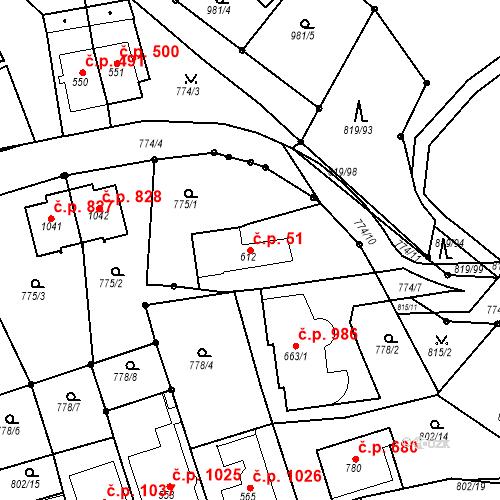 Katastrální mapa Stavební objekt Luhačovice 51, Luhačovice