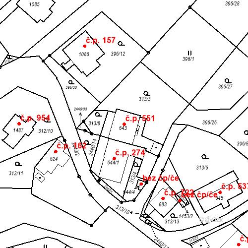 Katastrální mapa Stavební objekt Luhačovice 551, Luhačovice