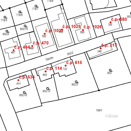 Katastrální mapa Stavební objekt Luhačovice 615, Luhačovice