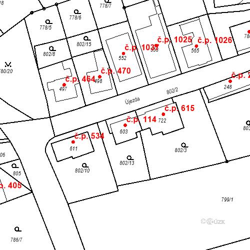Katastrální mapa Stavební objekt Luhačovice 114, Luhačovice