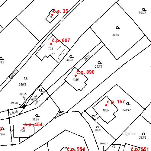 Katastrální mapa Stavební objekt Luhačovice 890, Luhačovice
