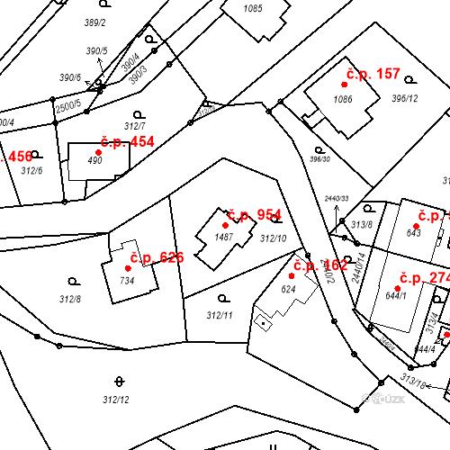Katastrální mapa Stavební objekt Luhačovice 954, Luhačovice