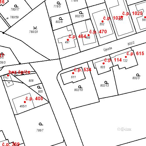 Katastrální mapa Stavební objekt Luhačovice 534, Luhačovice