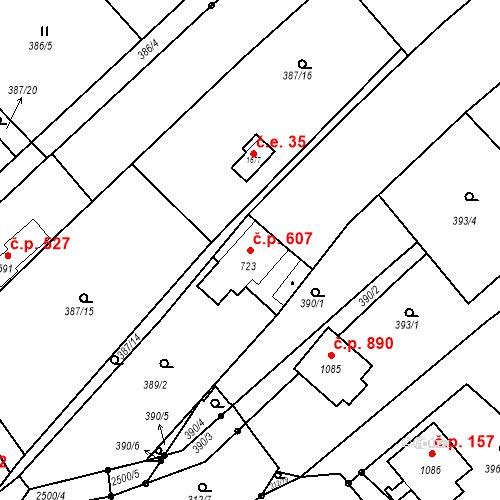 Katastrální mapa Stavební objekt Luhačovice 607, Luhačovice