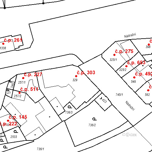 Katastrální mapa Stavební objekt Luhačovice 303, Luhačovice