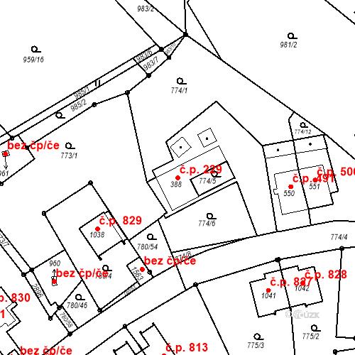 Katastrální mapa Stavební objekt Luhačovice 229, Luhačovice