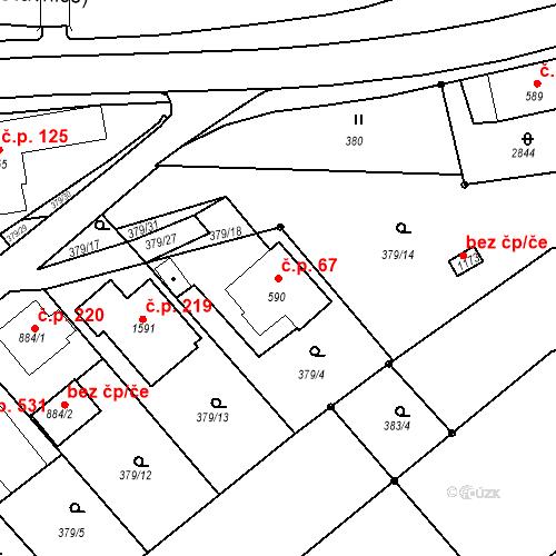 Katastrální mapa Stavební objekt Luhačovice 67, Luhačovice