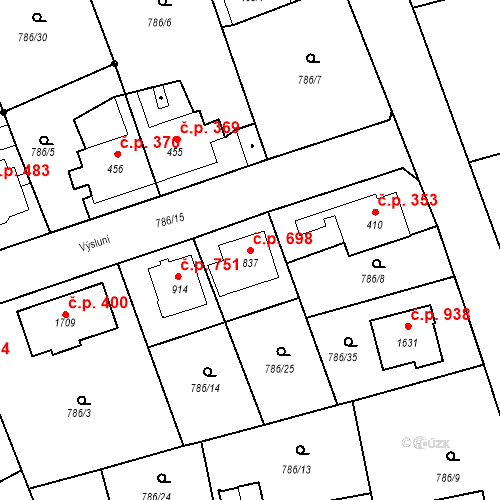 Katastrální mapa Stavební objekt Luhačovice 698, Luhačovice