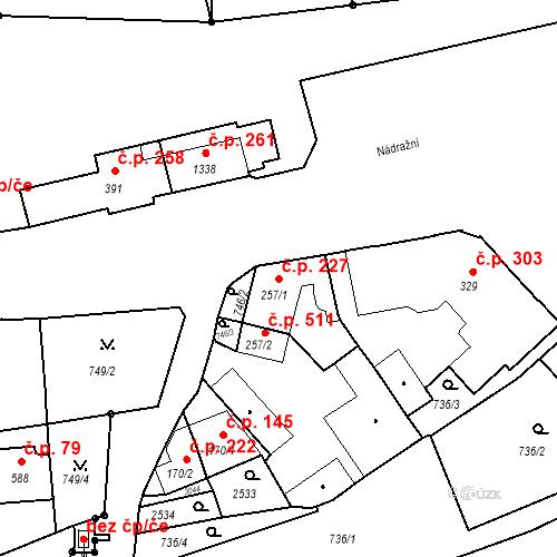 Katastrální mapa Stavební objekt Luhačovice 227, Luhačovice