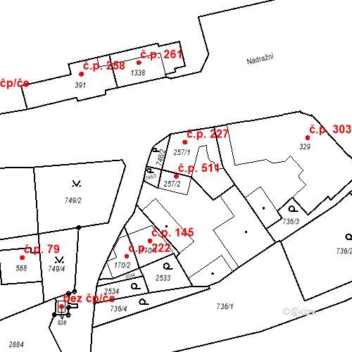 Katastrální mapa Stavební objekt Luhačovice 511, Luhačovice
