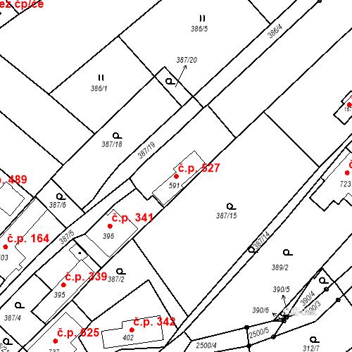 Katastrální mapa Stavební objekt Luhačovice 527, Luhačovice