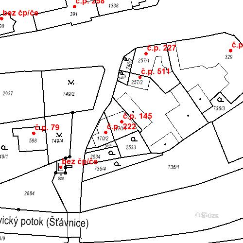 Katastrální mapa Stavební objekt Luhačovice 145, Luhačovice