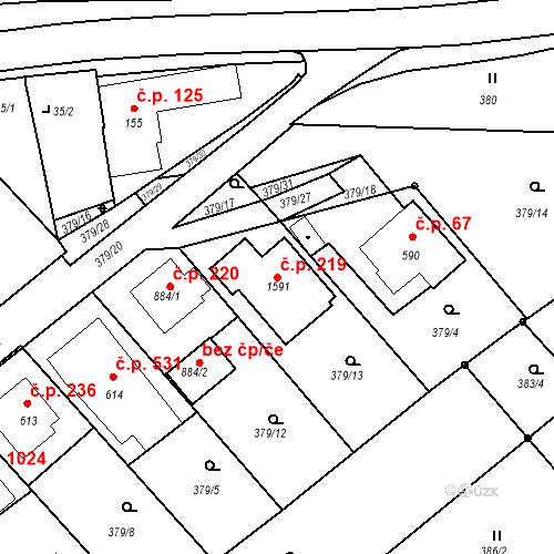 Katastrální mapa Stavební objekt Luhačovice 219, Luhačovice