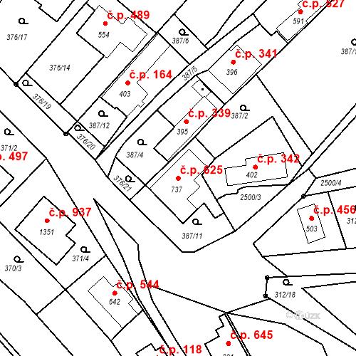 Katastrální mapa Stavební objekt Luhačovice 625, Luhačovice