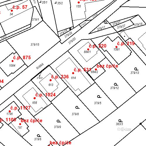 Katastrální mapa Stavební objekt Luhačovice 531, Luhačovice