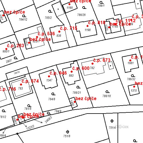 Katastrální mapa Stavební objekt Luhačovice 600, Luhačovice