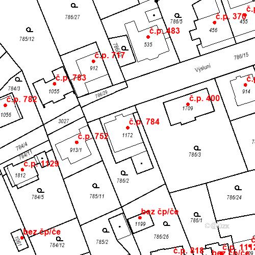 Katastrální mapa Stavební objekt Luhačovice 784, Luhačovice