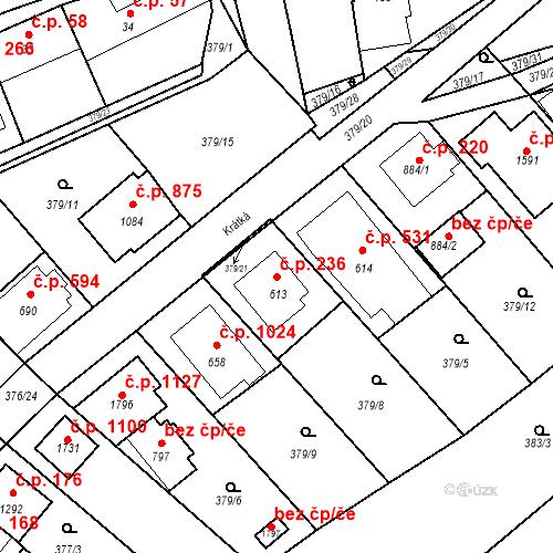 Katastrální mapa Stavební objekt Luhačovice 236, Luhačovice