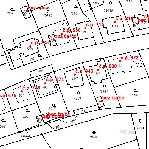 Katastrální mapa Stavební objekt Luhačovice 946, Luhačovice