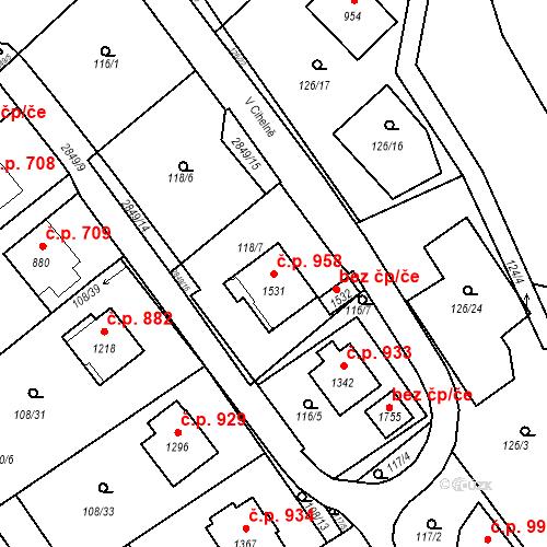 Katastrální mapa Stavební objekt Luhačovice 958, Luhačovice
