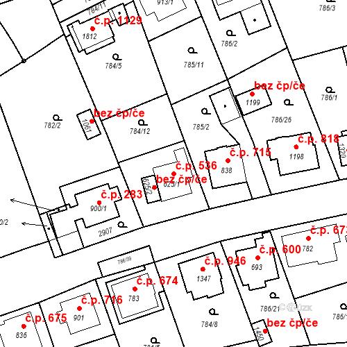 Katastrální mapa Stavební objekt Luhačovice 536, Luhačovice