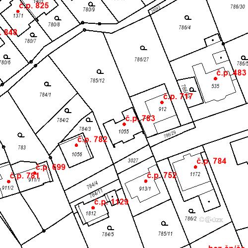 Katastrální mapa Stavební objekt Luhačovice 783, Luhačovice
