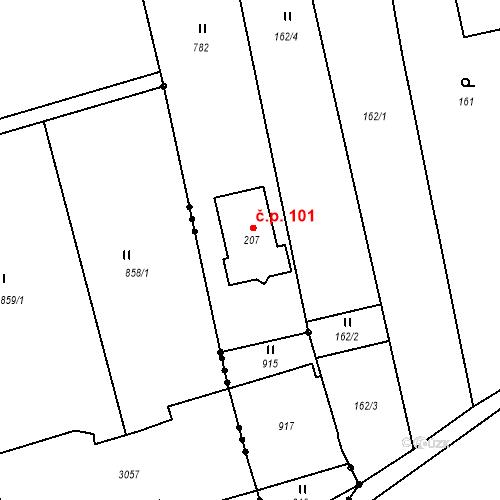 Katastrální mapa Stavební objekt Hrabůvka 101, Hrabůvka