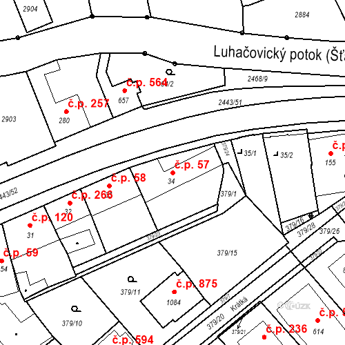 Katastrální mapa Stavební objekt Luhačovice 57, Luhačovice
