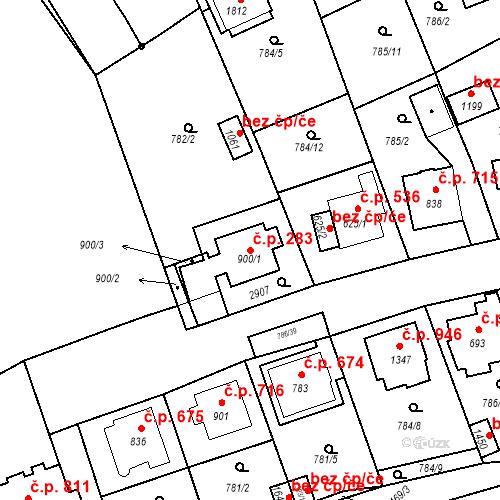 Katastrální mapa Stavební objekt Luhačovice 283, Luhačovice