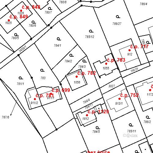 Katastrální mapa Stavební objekt Luhačovice 782, Luhačovice