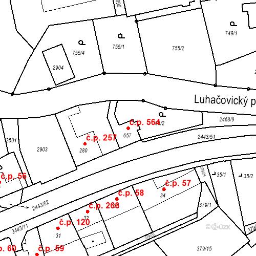 Katastrální mapa Stavební objekt Luhačovice 564, Luhačovice