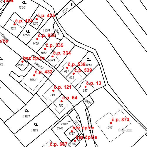Katastrální mapa Stavební objekt Luhačovice 539, Luhačovice