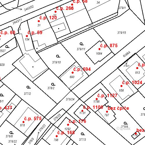 Katastrální mapa Stavební objekt Luhačovice 594, Luhačovice