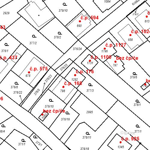 Katastrální mapa Stavební objekt Luhačovice 176, Luhačovice