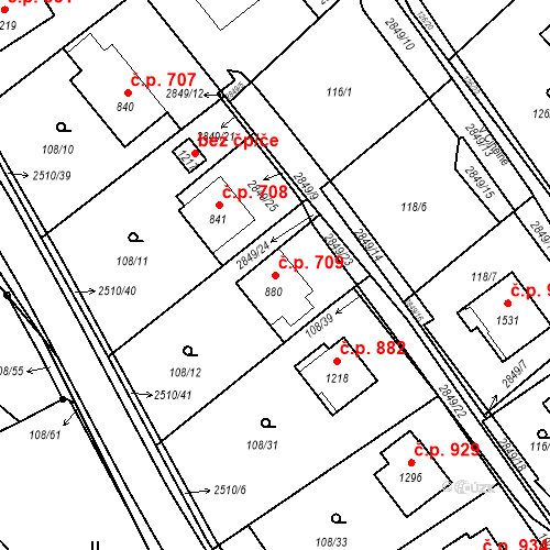 Katastrální mapa Stavební objekt Luhačovice 709, Luhačovice
