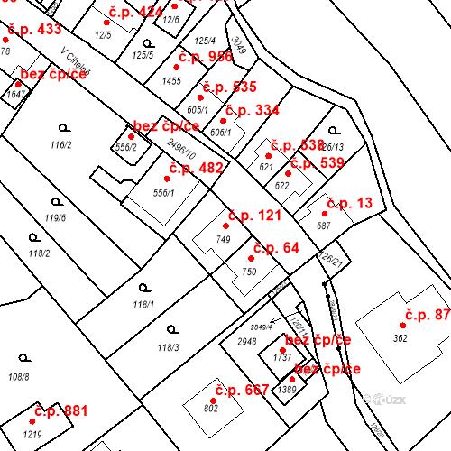 Katastrální mapa Stavební objekt Luhačovice 121, Luhačovice