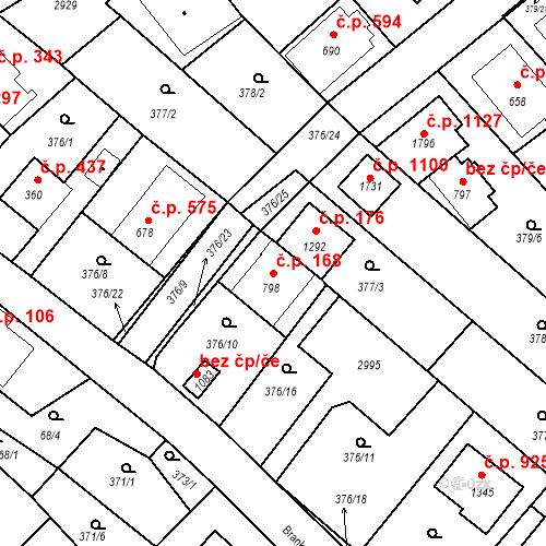Katastrální mapa Stavební objekt Luhačovice 168, Luhačovice
