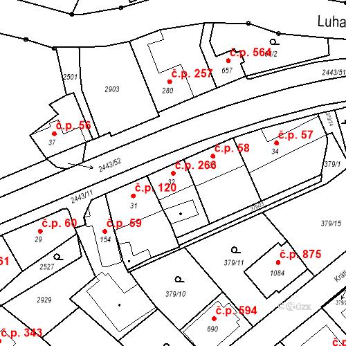 Katastrální mapa Stavební objekt Luhačovice 266, Luhačovice
