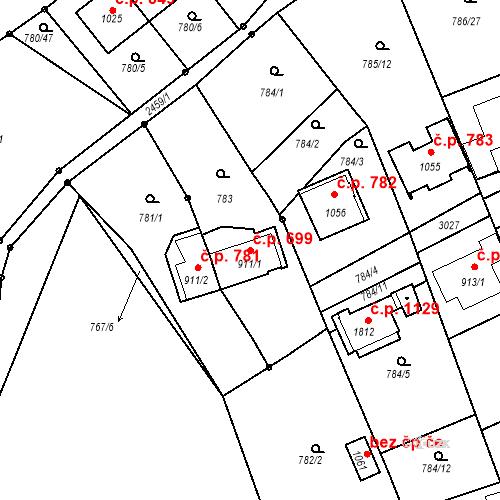 Katastrální mapa Stavební objekt Luhačovice 699, Luhačovice