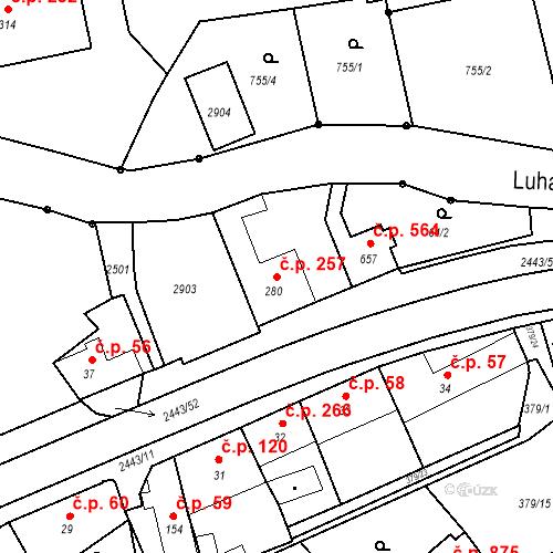 Katastrální mapa Stavební objekt Luhačovice 257, Luhačovice