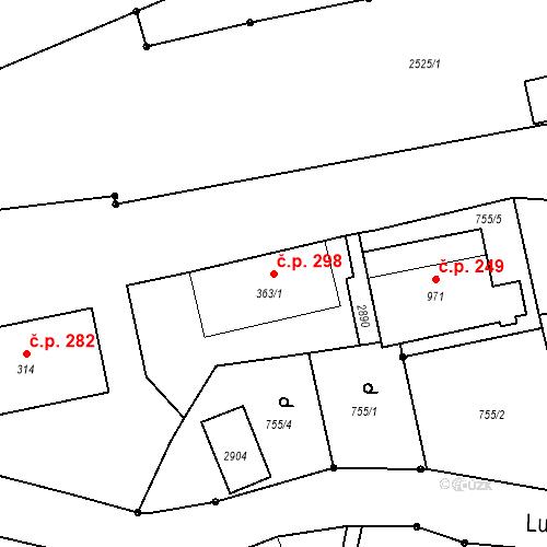 Katastrální mapa Stavební objekt Luhačovice 298, Luhačovice